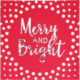 Holiday Sparkle & Shine Red Luncheon Napkin, Merry and Bright