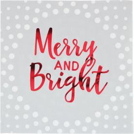 Holiday Sparkle & Shine Silver Luncheon Napkin, Merry and Bright