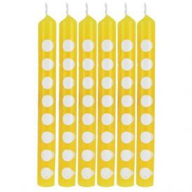 Decor Candles Dots Schl Bus Yellow