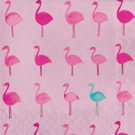 Tropical Stripes Luncheon Napkin, Lets Flamingle
