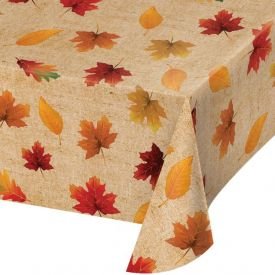 FALL LEAVES VINYL TABLECOVER, FALL LEAVES 52 X 90