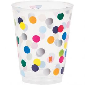French Bull Birthday Dots 16 oz Plastic Foil Tumblers