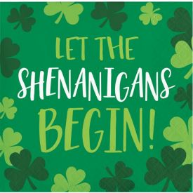 IRISH BLARNEY BEVERAGE NAPKINS - LET THE SHENANIGAN'S BEGIN