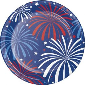 PATRIOTIC PATTERNS APPETIZER OR DESSERT PAPER PLATES 7