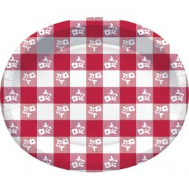 RED GINGHAM OVAL PLATTER 10