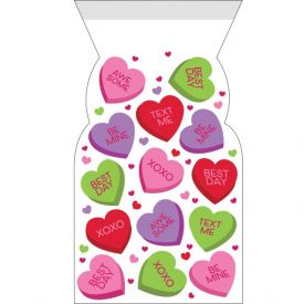 Valentine DÉcor Cello Bags Zipper Candy Hearts