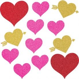 Valentine DÉcor Assorted Cutouts With Glitter Valentine Icons