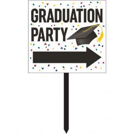 Graduation DÉcor Yard Sign, Grad Directional Bl/white