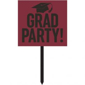 GRADUATION DÉCOR YARD SIGN, GRAD,  BURGUNDY