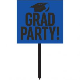 GRADUATION DÉCOR YARD SIGN, GRAD,  COBALT