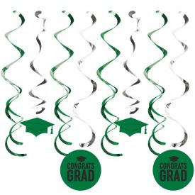 Graduation DÉcor Split Dizzy Danglers, Grad Green