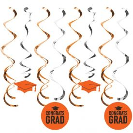Graduation DÉcor Split Dizzy Danglers, Grad Orange