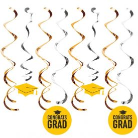 Graduation DÉcor Split Dizzy Danglers, Grad Yellow