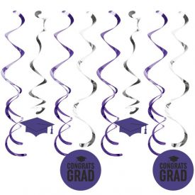 Graduation DÉcor Split Dizzy Danglers, Grad Purple