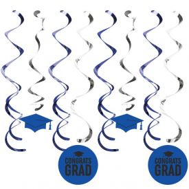 Graduation DÉcor Split Dizzy Danglers, Grad Cobalt