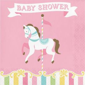 CAROUSEL LUNCHEON NAPKIN, BABY SHOWER
