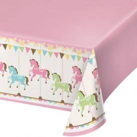 CAROUSEL PLASTIC TABLECOVER ALL OVER PRINT, 54