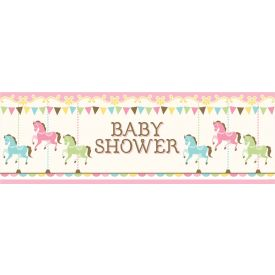 CAROUSEL GIANT PARTY BANNER, BABY SHOWER
