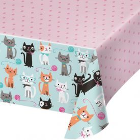 PURR-FECT PARTY PLASTIC TABLECOVER ALL OVER PRINT, 54