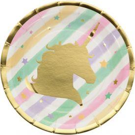 Unicorn Sparkle Appetizer Or Dessert Plates, Foil Stamp