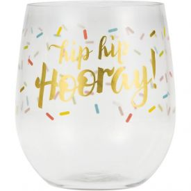 Hip Hip Plastic Stemless Wine Glass - HIP HIP HOORAY