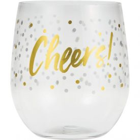 Cheers Plastic Stemless Wine Glass - CHEERS