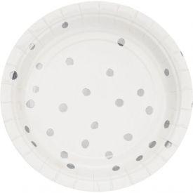 Toc White Silver Foil Luncheon Plate, Silver Foil