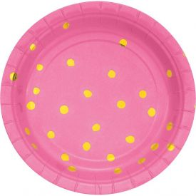 Toc Candy Pink Foil Luncheon Plate, Foil