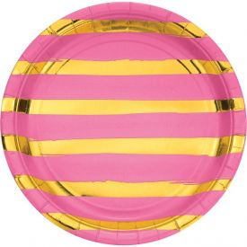 Toc Candy Pink Foil Dinner Plate, Foil