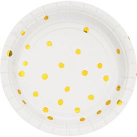 WHITE GOLD APPETIZER OR DESSERT PLATES GOLD FOIL DOTS 7