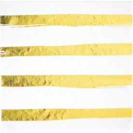 White Gold Foil Luncheon Napkin 3ply, Foil Stamp Gold