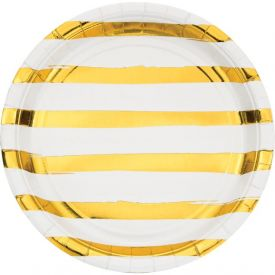 White Gold Foil Dinner Plate With Gold Foil Stripes