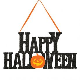 DÉCOR GLITTER HANGING SIGN, HAPPY HALLOWEEN