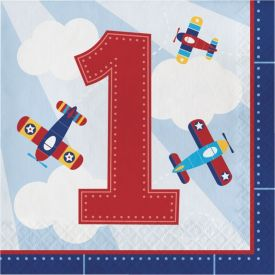 Lil' Flyer Airplane Luncheon Napkins First Birthday