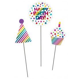 Rainbow Foil Bday Centerpiece Sticks, Rainbow Foil Birthday