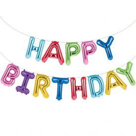 Rainbow Foil Bday Balloon Banner, Happy Birthday, Rainbow Foil