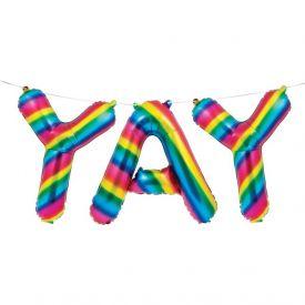 Rainbow Foil Bday Balloon Banner, Yay, Rainbow Foil
