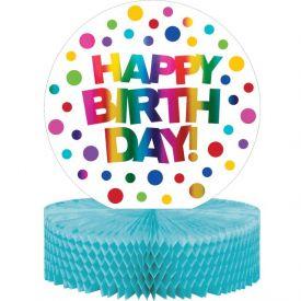 Rainbow Foil Bday Honeycomb Centerpiece, Rainbow Foil Birthday