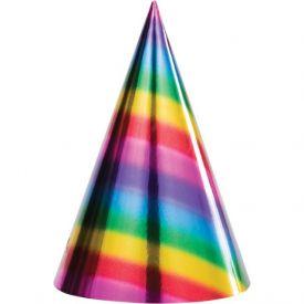 Rainbow Foil Bday Cone Hats, Rainbow Foil