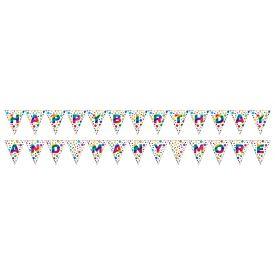 Rainbow Foil Bday 2-sided Pennant Banner, Rainbow Foil Birthday