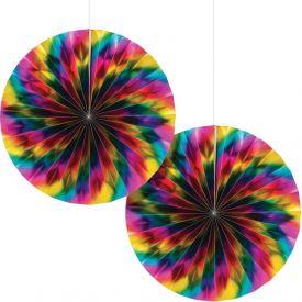 Rainbow Foil Bday Paper Fan 2-pack, Rainbow Foil