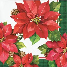 CHRISTMAS POINSETTIA BEVERAGE NAPKIN