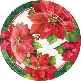 CHRISTMAS POINSETTIA LUNCHEON PLATE