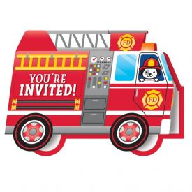FLAMING FIRE TRUCK INVITATION DIECUT FOLDOVER