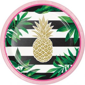 PINEAPPLE WEDDING LUNCHEON PLATE, FOIL STAMP