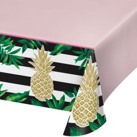 PINEAPPLE WEDDING PLASTIC TABLECOVER ALL OVER PRINT, 54