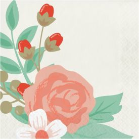 MODERN FLORAL LUNCHEON NAPKIN, 3 PLY IVORY
