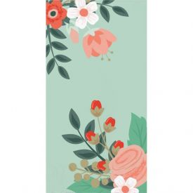 MODERN FLORAL GUEST TOWEL, 3 PLY MINT
