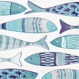 MEDITERRANEAN LUNCHEON NAPKIN, 3 PLY FISH