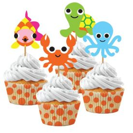 JUVI OCEAN CUPCAKE KIT, 12 SETS (12 BAKING CUPS/12 PICKS)